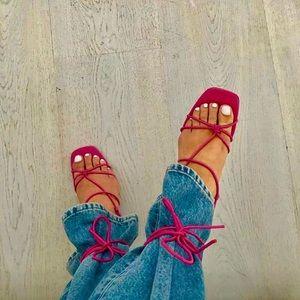 NEW zara thin strap strappy heeled sandals leather